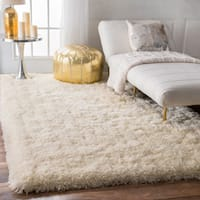 "nuLOOM Solid Soft and Plush White/ Grey Shag Rug (7'6 x 9'6) - 7'6"" x 9'6"""