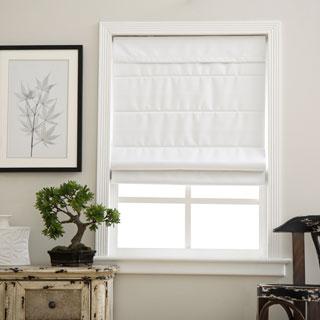 Arlo Blinds Cloud White Cordless Fabric Roman Blackout Shades
