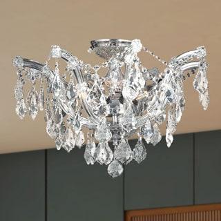 Metro Candelabra 6-light Chrome Finish Crystal Shabby Chic Luxe Ceiling Light