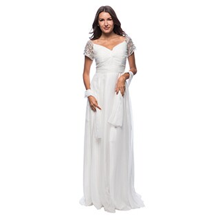 DFI Women's Long Twist Front Long Evening Gown with Jeweled Sleeve Embellishments (Option: S)
