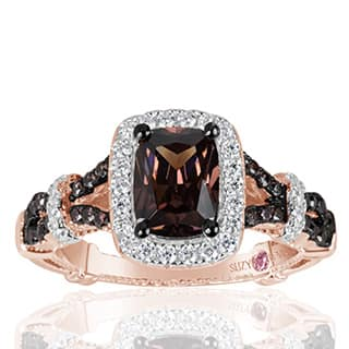 Suzy Levian Rose Sterling Silver Brown and White Cubic Zirconia Engagement Ring|https://ak1.ostkcdn.com/images/products/P17623646w.jpg?impolicy=medium