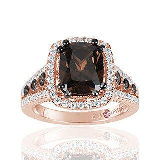 Suzy Levian Rose Sterling Silver Brown Chocolate and White Cubic Zirconia Engagement Ring - Pink