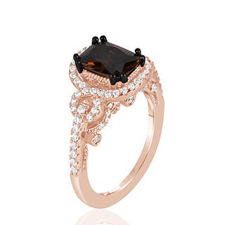 Suzy L Rose Sterling Silver Brown Chocolate And White Cubic Zirconia Engagement Ring Pink