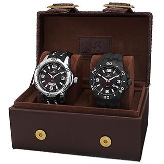 Joshua & Sons Men's Black Strap and Bracelet Watch Set