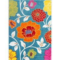 Well Woven Bright Flowers Blue, Orange, Red, Yellow, and Green Area Rug - 5' x 7'