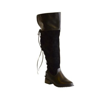 Boots by Pamela Women's Kristi Back Lace up Over the Knee Wide Calf Boots