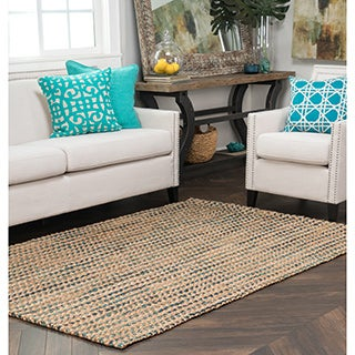 Kosas Home Handwoven Sherwood Jute Navy and Turquoise Striped Rug (5'x8')