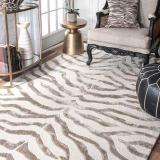 Handmade Zebra Grey Faux Silk/ Wool Runner Rug (9'6 x 13'6)