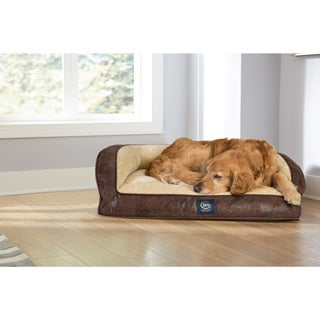 Serta Orthopedic Large Quilted Couch Pleather Deluxe 34 in. L x 24 in. W x 4 in. H Pet Bed
