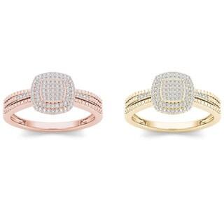 De Couer 10k Gold 1/5ct TDW Diamond Halo Engagement Ring (H-I, I2)
