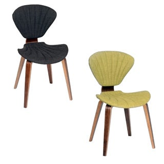 ARMEN LIVING Lisa Fabric and Walnut Wood Modern Chair