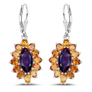 Olivia Leone Sterling Silver 6 1/2ct Amethyst and Citrine Earrings