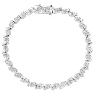 Sterling Silver 1ct TDW Rose-cut Diamond Bracelet (I-J, I2-I3)|https://ak1.ostkcdn.com/images/products/P17644420jt.jpg?impolicy=medium