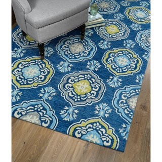 Christopher Medallion Blue Hand-Tufted Rug (8'0 x 10'0)