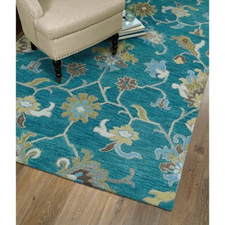 Christopher Ziegler Turquoise Hand-Tufted Rug (5'0 x 7'9)