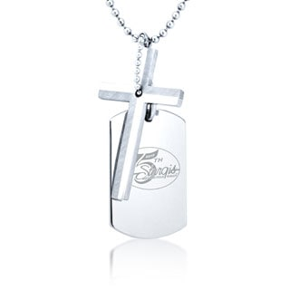 Stainless Steel 75th Sturgis Rally Dog Tag and Cross Necklace