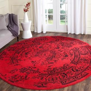 Safavieh Adirondack Vintage Overdyed Red/ Black Rug (4' Round)