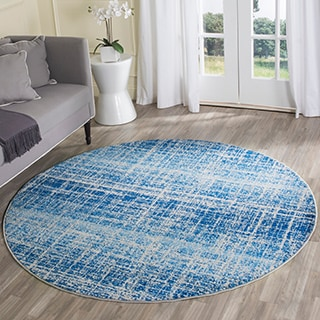 Safavieh Adirondack Modern Abstract Blue/ Silver Rug (6'' Round)