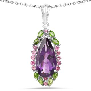 Malaika Sterling Silver 6 1/3ct Amethyst Chrome Diopside and Rhodolite Pendant