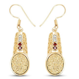 Malaika 18k Yellow Goldplated Sterling Silver 7 3/4ct Golden Drusy Garnet and White Topaz Earrings