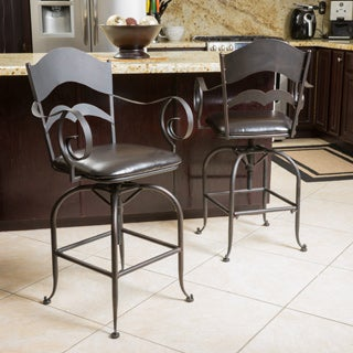 Wheaton 23-inch Iron Swivel Barstool (Set of 2) by Christopher Knight Home