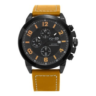 SO&CO New York Men's Quartz Monticello Leather Strap Watch