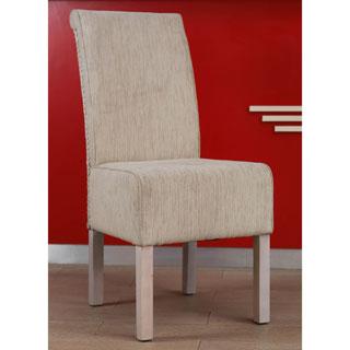 International Caravan 'Philip' Ivory Upholstered Rattan Weave Dining Chair with Mahogany Hardwood Frame