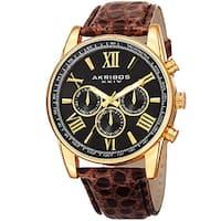 Akribos XXIV Men's Swiss Quartz Multifunction Dual Time Leather Gold-Tone Strap Watch