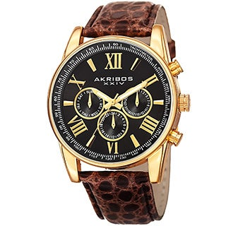 Akribos XXIV Men's Swiss Quartz Multifunction Dual Time Leather Gold-Tone Strap Watch