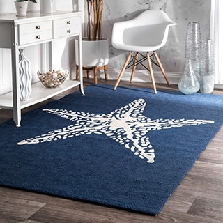 nuLOOM Handmade Trellis Indoor/ Outdoor Starfish Blue Rug (6' x 9')