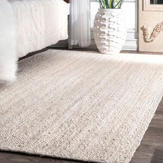Havenside Home Coopers Handmade Eco Natural Fiber Braided Reversible Jute White Area Rug - 6' x 9'