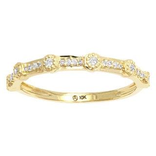 Beverly Hills Charm 10k Gold 1/6ct TDW Vintage Millgrain Diamond Band (H-I, I2-I3)