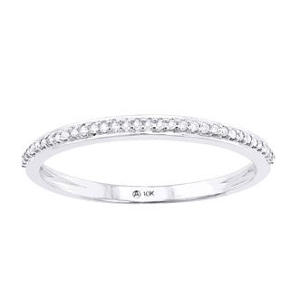 Beverly Hills Charm 10k White Gold 1/10ct TDW Diamond Anniversary Stackable Band Ring (H-I, I2-I3)