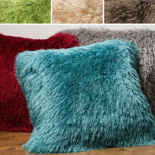 Luxe Solid Shag Down Feather or Polyester Filled 22-inch Throw Pillow or Pillow Cover