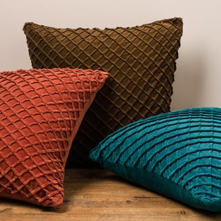 Solid Sown Ribbon Texture Down Feather or Polyester Filled 22-inch Throw Pillow or Pillow Cover