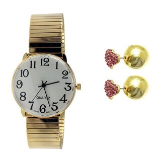 Women's Easy Read Stretch Band Watch Set with Christmas Earrings