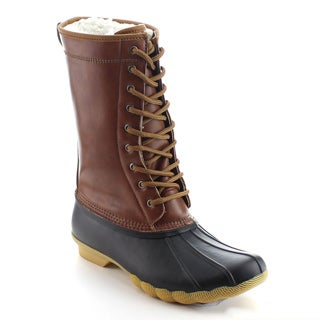 DAVICCINO AA12 Women's Lace Up Waterproof Duck Mid Calf Rain Winter Boots