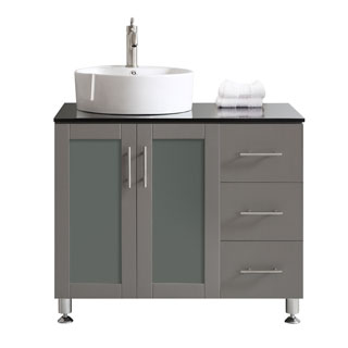 Vinnova Tuscany 36-inch Single Grey Mirrorless Vanity with White Vessel Sink, and Glass Countertop