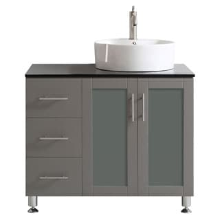 Vinnova Tuscany 36-inch Grey Single Vanity with White Vessel Sink with Glass Countertop without Mirror