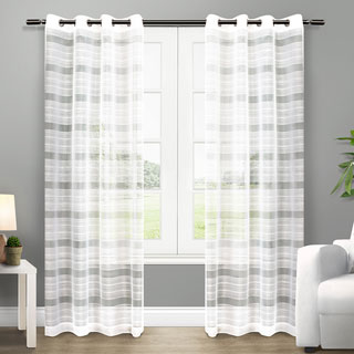 ATI Home Michel Grommet Top Sheer Curtain Panel Pair