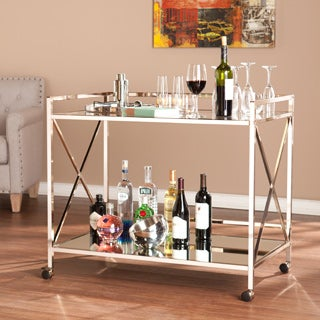 Harper Blvd Mattox Iron Glass Rolling Bar Cart
