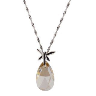 Sterling Silver Pear Genuine Austrian Crystal Necklace (Chine)