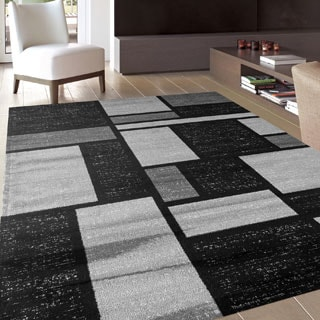 Contemporary Modern Boxes Design Gray 3 ft. 3 in. x 5 ft. Indoor Area Rug