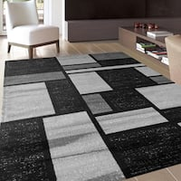 Contemporary Modern Boxes Design Gray Indoor Area Rug - 3'3 x 5'
