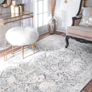 Distressed Floral Ivory/ Grey Area Rug (4' x 6')