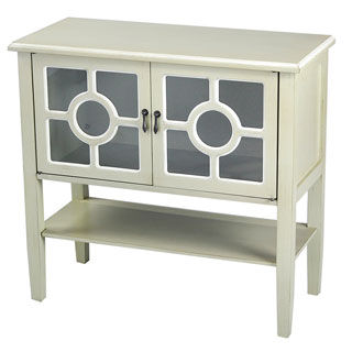 Heather Ann 2-door Console Cabinet with Glass Insert and Bottom Shelf