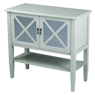2 Door Console Cabinet with Mirror Insert & Bottom Shelf