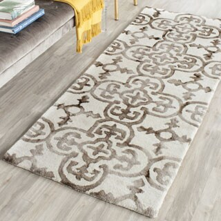 Safavieh Handmade Dip Dye Watercolor Vintage Ivory/ Brown Wool Rug (2'3 x 6')