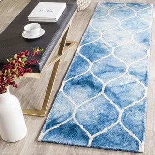 Safavieh Handmade Dip Dye Watercolor Vintage Blue/ Ivory Wool Rug (2'3 x 6')