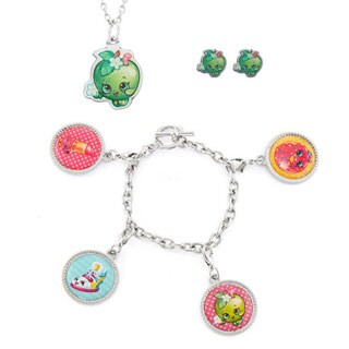 Shopkins Iron Printed Apple Blossom Necklace Earring and Bracelet Set